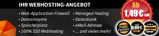 Webhosting ab 1,11 EUR mtl.
