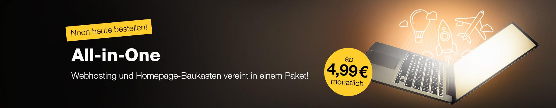 Webhosting und Homepage-Baukasten vereint in unseren All-in-One Paketen!